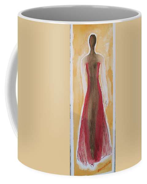Dress Lady Red Yellow Fashion Coffee Mug featuring the painting Stranger by Patricia Caldwell