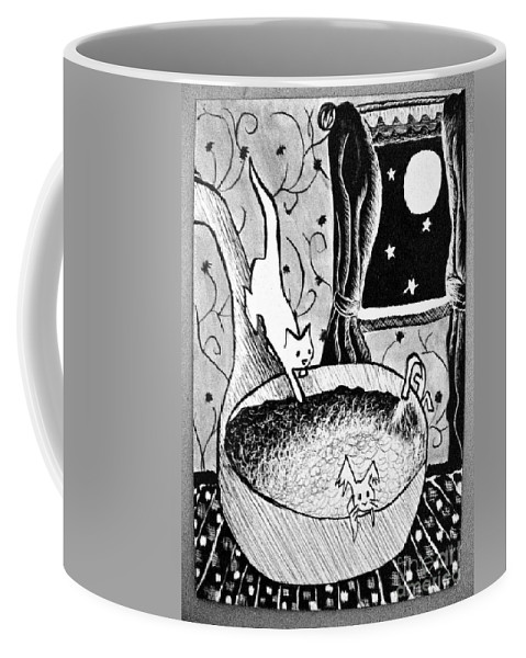 Cats Coffee Mug featuring the painting Strangers In Bathtubs by Tina Schofield