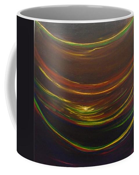 Rainbow Red Yellow Obama Coffee Mug featuring the painting Strata Surf by Jack Diamond