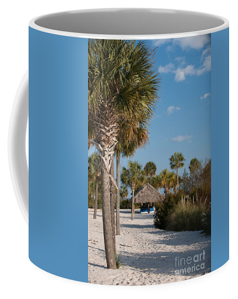 Sand Coffee Mug featuring the photograph Straw Hut Paradise by Dale Powell