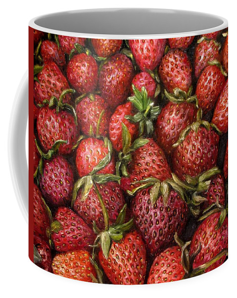 Garden Coffee Mug featuring the painting Strawberries -2 contemporary oil painting by Natalja Picugina