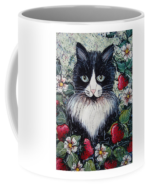 Cat Coffee Mug featuring the painting Strawberry Lover Cat by Natalie Holland