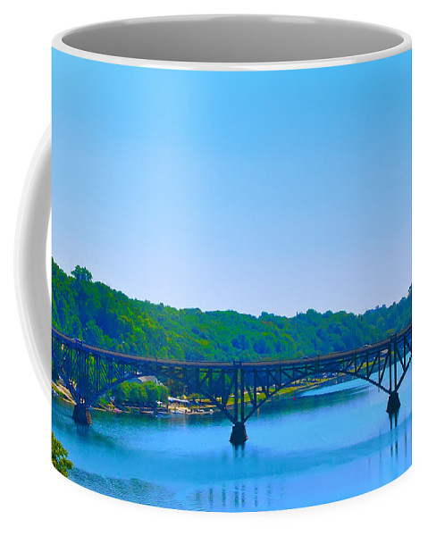 Strawberry Mansion Coffee Mug featuring the photograph Strawberry Mansion Bridge From Laurel Hill by Bill Cannon