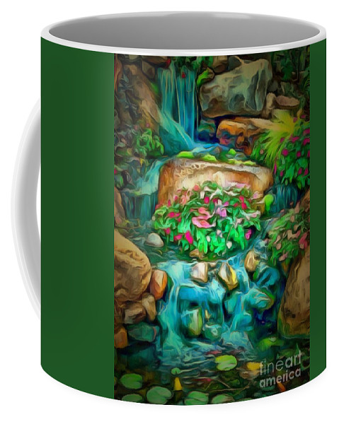 Stream In Ambiance Coffee Mug featuring the painting Stream In Ambiance by Catherine Lott
