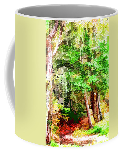 Streams In A Wood Covered With Leaves Coffee Mug featuring the painting Streams In A Wood Covered With Leaves by Jeelan Clark