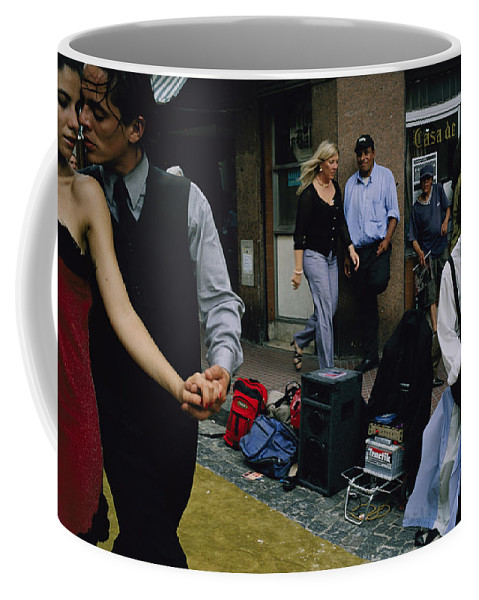 South America Coffee Mug featuring the photograph Street Dancers Perform Theatrics by Pablo Corral Vega