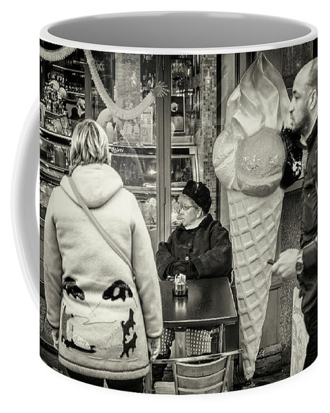 Black And White Coffee Mug featuring the photograph Street Ice Cream by Stewart Marsden