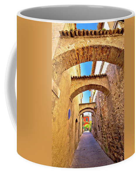 Sirmione Coffee Mug featuring the photograph Street Of Sirmione Historic Architecture View by Brch Photography