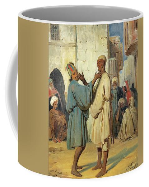 Francois-auguste Biard Coffee Mug featuring the painting Street Scene by Francois-Auguste Biard