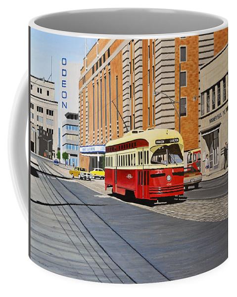Streetcars Coffee Mug featuring the painting Streetcar On Carlton Circa 1970 by Kenneth M Kirsch