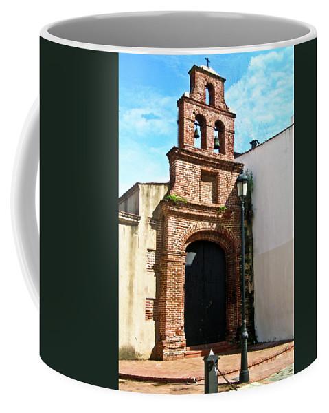 Streetlight Coffee Mug featuring the photograph Streetlight Bells And Cross by Douglas Barnett