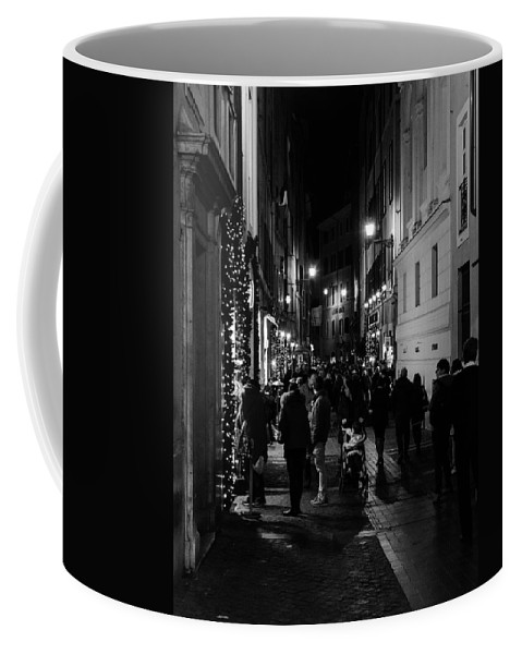 Rome Coffee Mug featuring the photograph Streets Of Rome At Night by Andrea Mazzocchetti