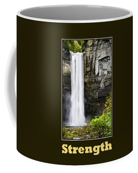 Inspirational Coffee Mug featuring the mixed media Strength Inspirational Poster by Christina Rollo