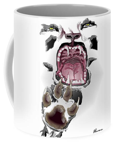 Tiger Stressed Scream Black And White Mouth Teeth Tongue Paws Coffee Mug featuring the digital art Stressed by Andrea Lawrence
