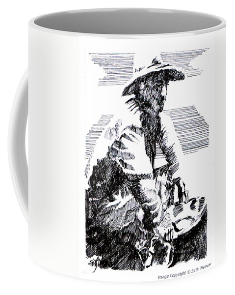 1850's Old West Coffee Mug featuring the drawing Striking It Rich by Seth Weaver
