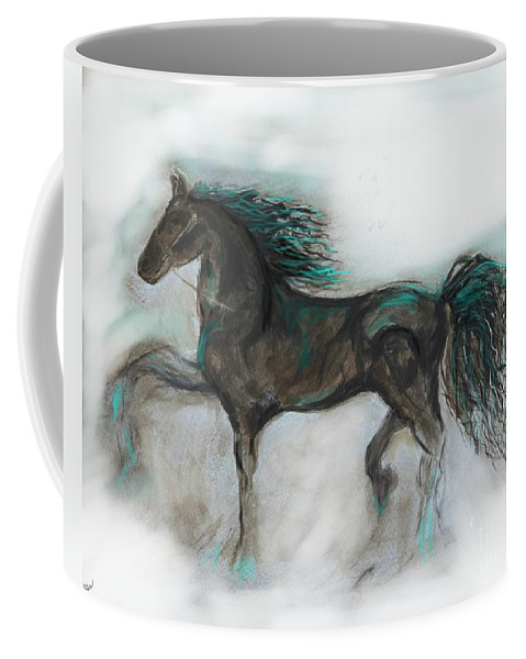 Horse Coffee Mug featuring the painting Striking Stallion by Leslie Allen