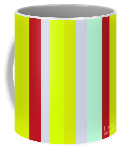 Stripe Coffee Mug featuring the painting Striped Color Brown Blue Green by Eloise Schneider Mote