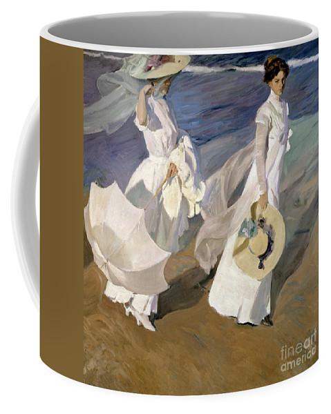 Sorolla Coffee Mug featuring the painting Strolling along the Seashore by Joaquin Sorolla y Bastida