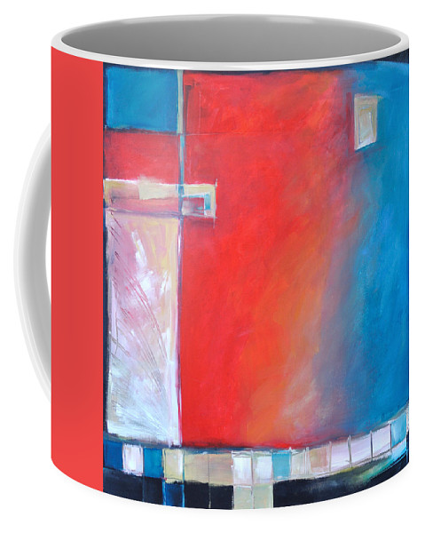 Abstract Coffee Mug featuring the painting Structures And Solitude Revisited by Tim Nyberg