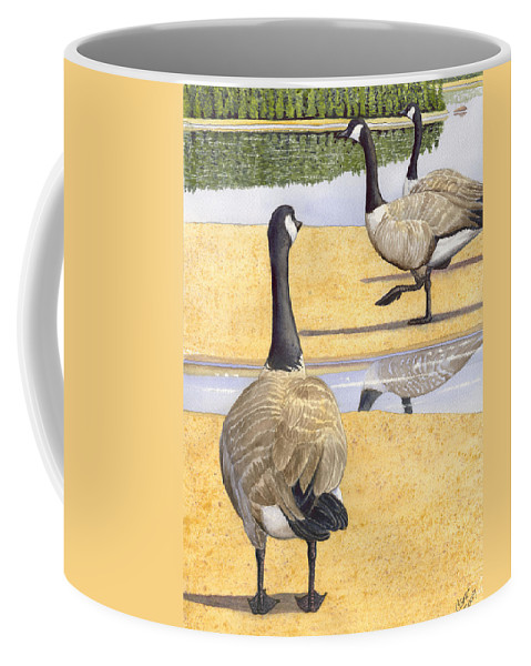 Geese Coffee Mug featuring the painting Struttin Thier Stuff by Catherine G McElroy