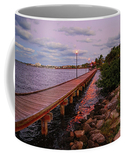 Landscape Coffee Mug featuring the photograph Stuart Riverwalk Sunset by Olga Hamilton