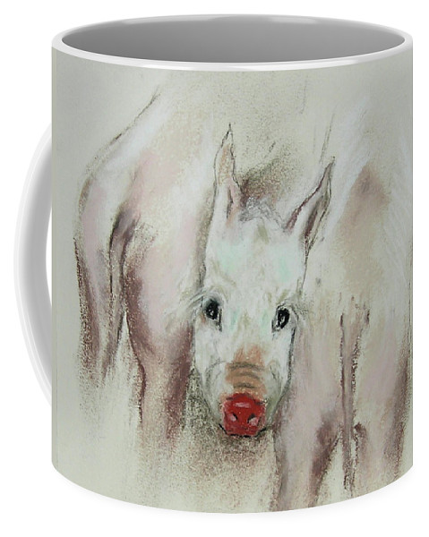 Animal Coffee Mug featuring the drawing Stuck In The Middle by Cori Solomon