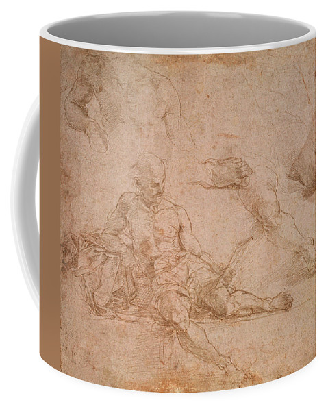 Raphael Coffee Mug featuring the drawing Study For The Figure Of Diogenes In The School Of Athens by Raphael