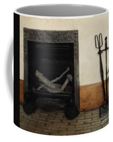 Fireplace Coffee Mug featuring the painting Study In Iron, Wood And Stone by RC deWinter