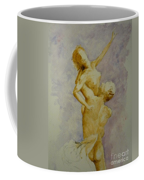 Nude Coffee Mug featuring the painting Study In Watercolour by Lizzy Forrester
