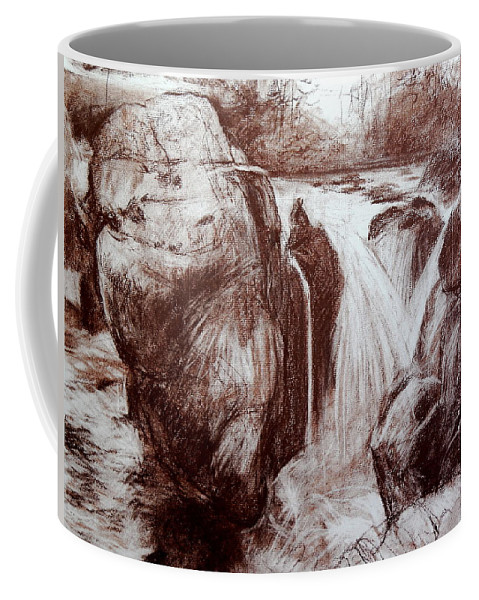 Wales Coffee Mug featuring the drawing Study Of Rocks At Betws-y-coed by Harry Robertson