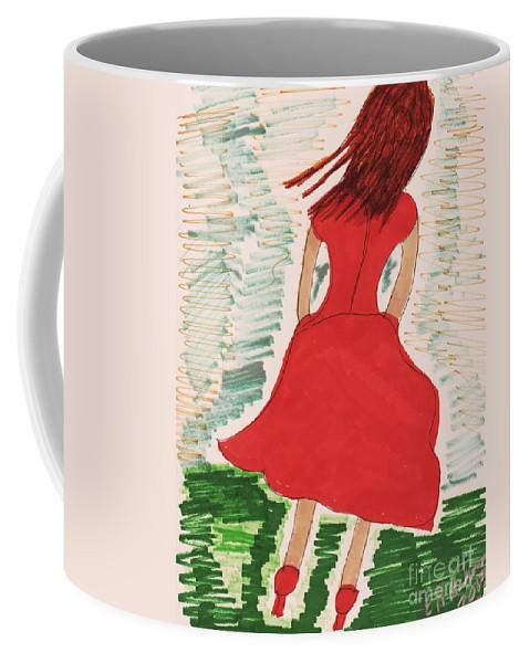 Back Of Girl Red Dress Medium Length Coffee Mug featuring the mixed media Style Two 2014 by Elinor Helen Rakowski