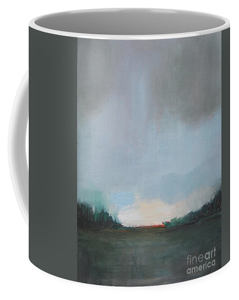 Abstract Landscape Coffee Mug featuring the painting Suburb Dusk by Vesna Antic