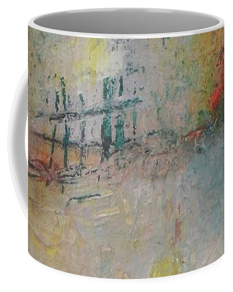 Abstract Coffee Mug featuring the painting Suburb Sunset by Vesna Antic