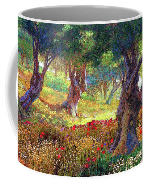Landscape Coffee Mug featuring the painting Poppies and Olive Trees by Jane Small