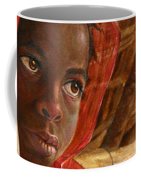 Children Painting Coffee Mug featuring the painting Sudanese Girl by Portraits By NC