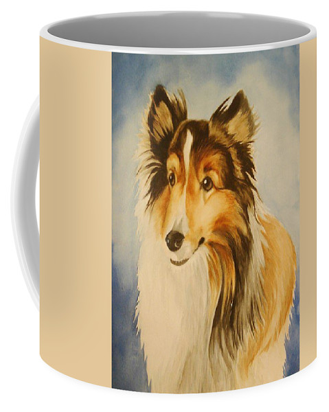 Sheltie Coffee Mug featuring the painting Sugar by Marilyn Jacobson