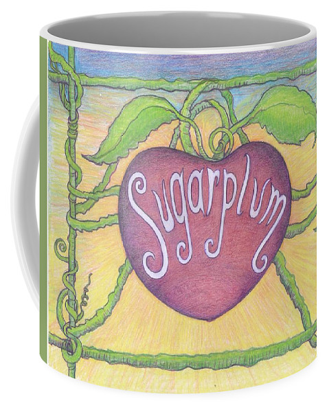 #sugarplum #sugarplumtheband #originalartforsale #paintingsforsale #artandmusic #musicandart #www.facebook.com/siugarplumtheband #artforsale #artposters #musicposters #oldschoolmusicposters Coffee Mug featuring the drawing Sugarplum #2 by Cynthia Silverman