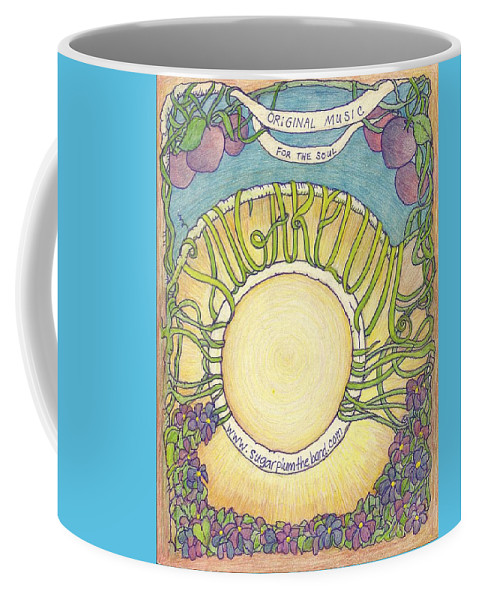 #sugarplumtheband #artandmusic #musicposterart #coolart #bandart #abstractartforsale #camvasartprints #originalartforsale #abstractartpaintings Coffee Mug featuring the drawing Sugarplum #5 by Cynthia Silverman