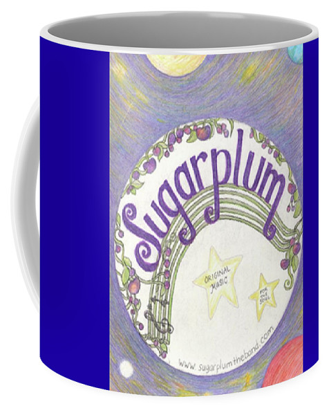 #sugarplumtheband #musicandart #posterart #bandposters #coolart #abstractartforsale #camvasartprints #originalartforsale #abstractartpaintings Coffee Mug featuring the drawing Sugarplum Logo by Cynthia Silverman
