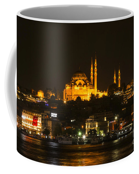 Istanbul Coffee Mug featuring the photograph Suleymaniye At Night by Bob Phillips