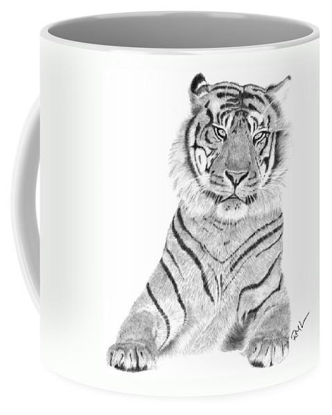 Tiger Artwork Coffee Mug featuring the drawing Sumatran Tiger by Rosanna Maria