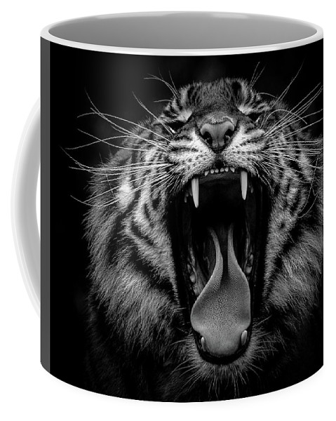 Tiger Coffee Mug featuring the photograph Sumatran Tiger V Bw by Athena Mckinzie