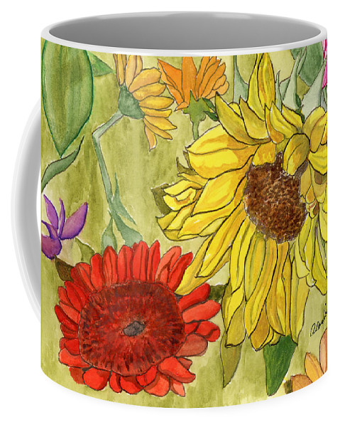 Sunflowers Coffee Mug featuring the painting Summer Bouquet by Alexis Grone
