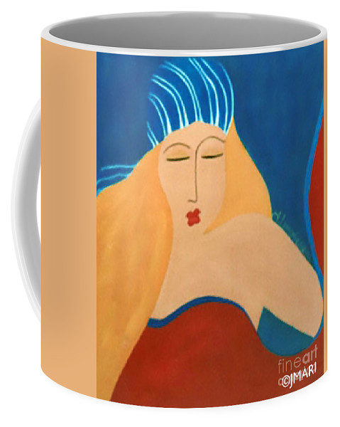 #female #figurative #summerbreeze # Fineart #art #images #painting #artist Coffee Mug featuring the painting Summer Breeze by Jacquelinemari