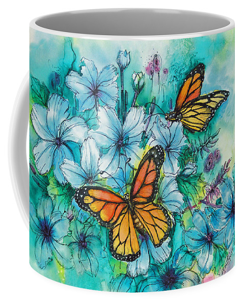 Butterfly Coffee Mug featuring the painting Summer Butterflies by Deborah Younglao