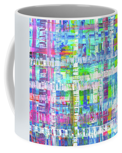 Texture Meets Plaid In This Summer Colors Inspired Expressionist Artwork.green Pink Blue Turquoise White And A Tiny Smidge Of Bright Orange . Coffee Mug featuring the painting Summer Cloth by Expressionistart studio Priscilla Batzell