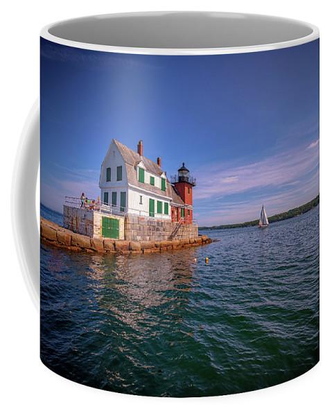 Sailboat Coffee Mug featuring the photograph Summer Day At Rockland Breakwater by Rick Berk