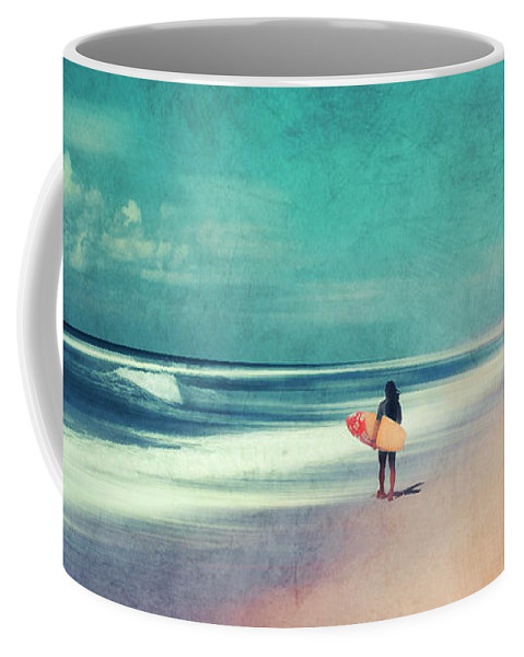 Landscape Coffee Mug featuring the photograph Summer Days - Abstract Seascape With Surfer by Dirk Wuestenhagen