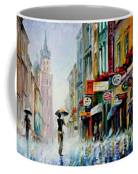 Afremov Coffee Mug featuring the painting Summer Downpour by Leonid Afremov