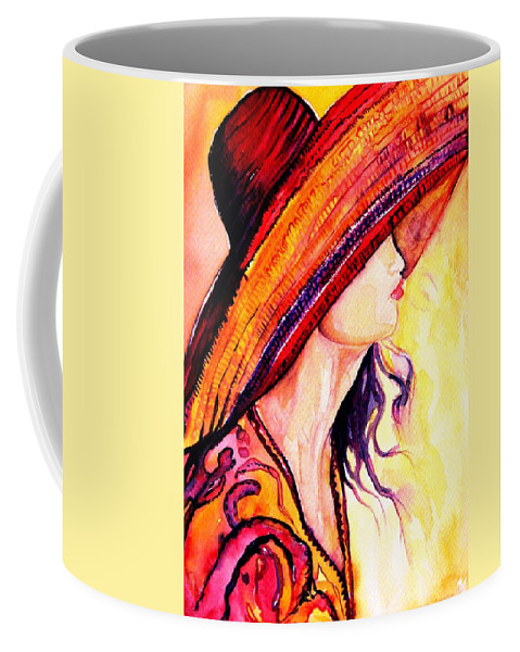 Elegant Lady Coffee Mug featuring the painting Summer Hat by Carole Spandau